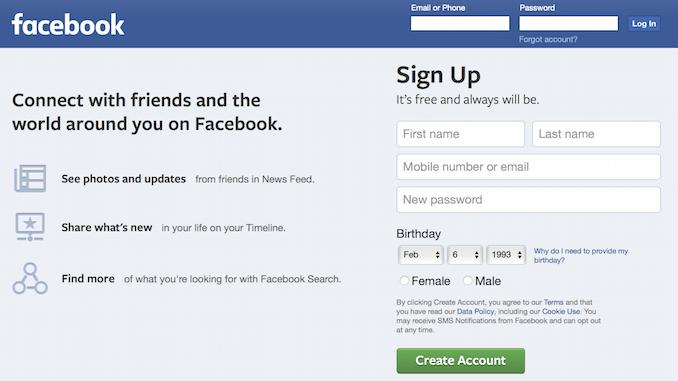 Facebook hjemmeside