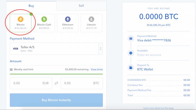Køb af Bitcoins på Coinbase